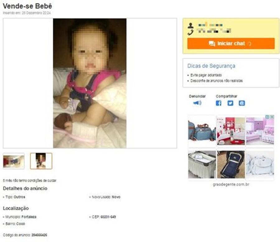 No Ceará, pais colocam bebê à venda no site OLX na noite de Natal