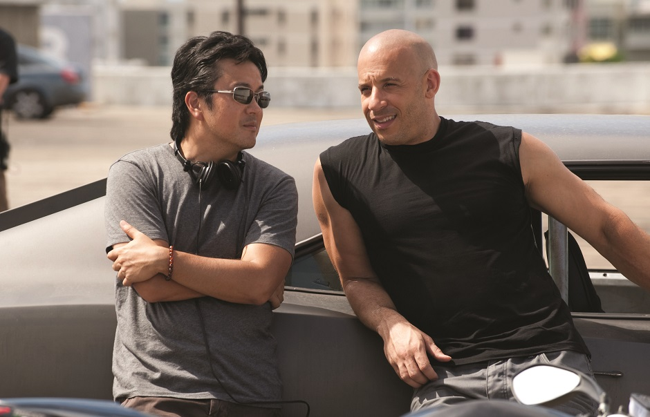 Vin Diesel e o diretor Justin Lin em 'Velozes e Furiosos'