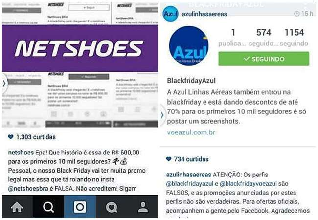 """""""Black Fraude"""": empresas alertam para golpe de falsos perfis no Instagram"""