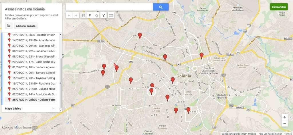 Internauta cria mapa que mostra onde 13 mulheres foram mortas por motoqueiro