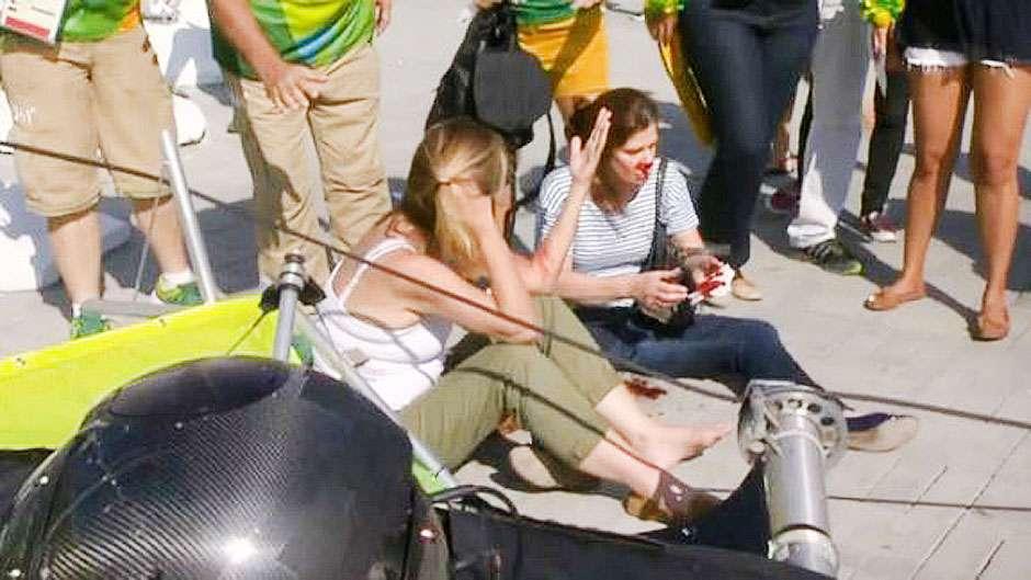 Câmera com mais de 100 kg cai e fere sete pessoas no Parque Olímpico