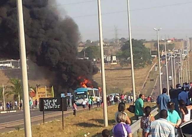 Ônibus do Eixo Anhanguera é incendiado na GO-070