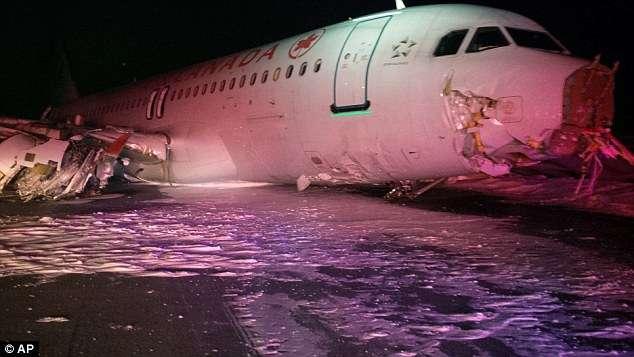Avião da Air Canadá sai da pista e deixa vários feridos
