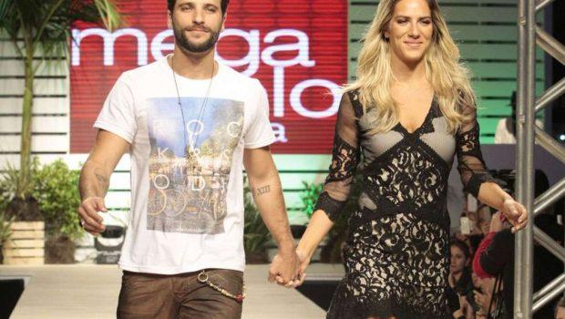 Bruno Gagliasso e Giovanna Ewbank desfilam em São Paulo