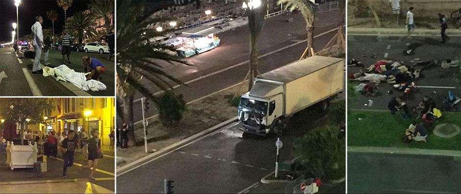 Caminhão avança sobre multidão, mata 30 e fere 100 pessoas em Nice
