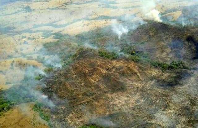 Bombeiros combatem incêndio no Parque da Serra Dourada