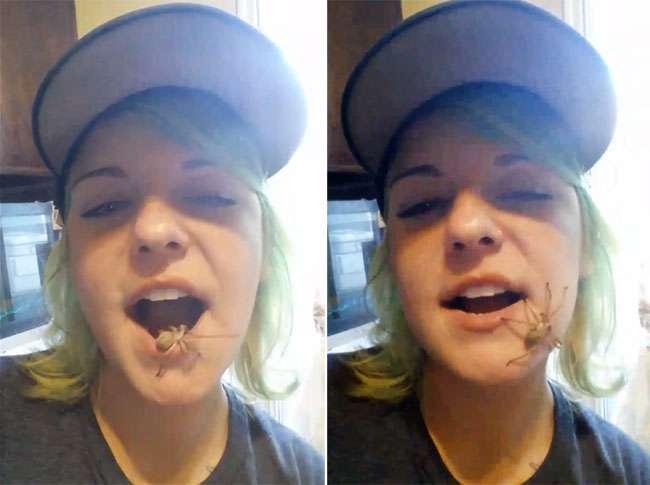 Americana choca internautas ao exibir aranha 'vivendo' em sua boca