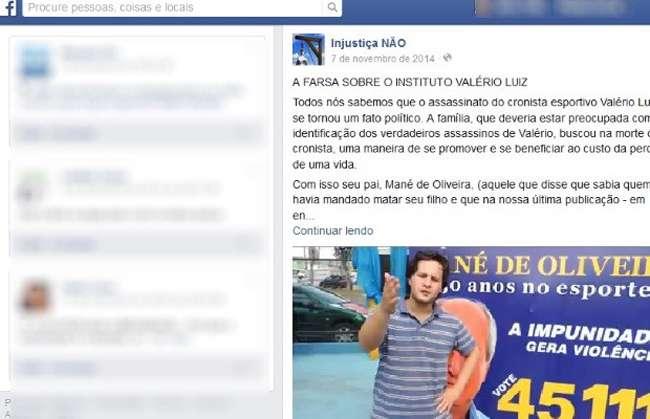 Juiz determina ao Facebook exclusão de página ofensiva à família de Valério Luiz