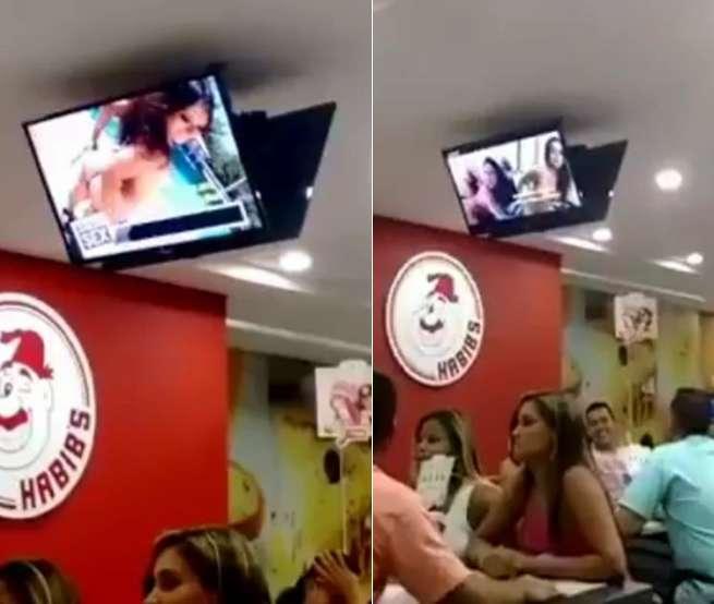 Clientes do Habib's flagram filme pornô sendo exibido nas TVs da loja