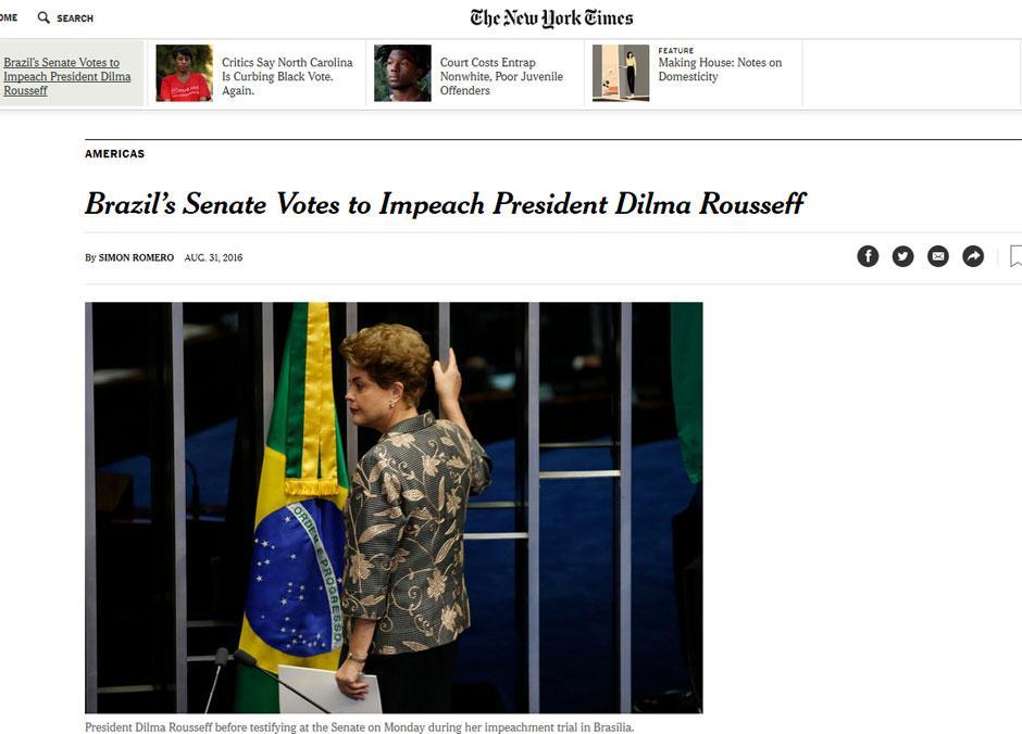 NY Times: Senado decide por impeachment de Dilma e põe fim à era petista