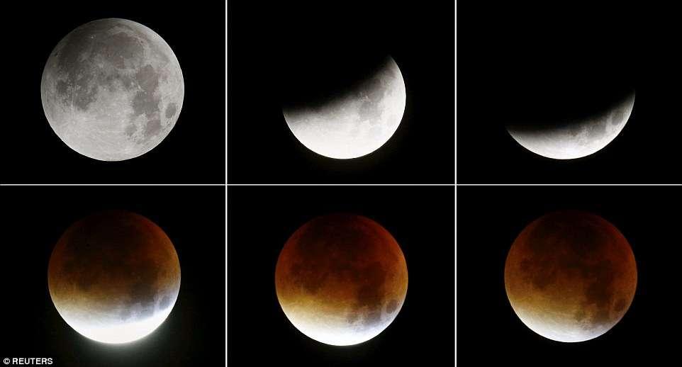 Veja fotos do eclipse total da superlua pelo Mundo