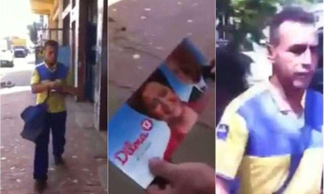Vídeo: carteiro uniformizado é flagrado entregando propaganda de Dilma