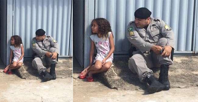 Sargento da PM consola criança após briga de pais