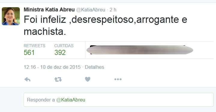 Kátia Abreu e José Serra se desentendem em festa