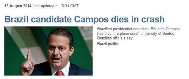 Imprensa internacional repercute morte de Campos