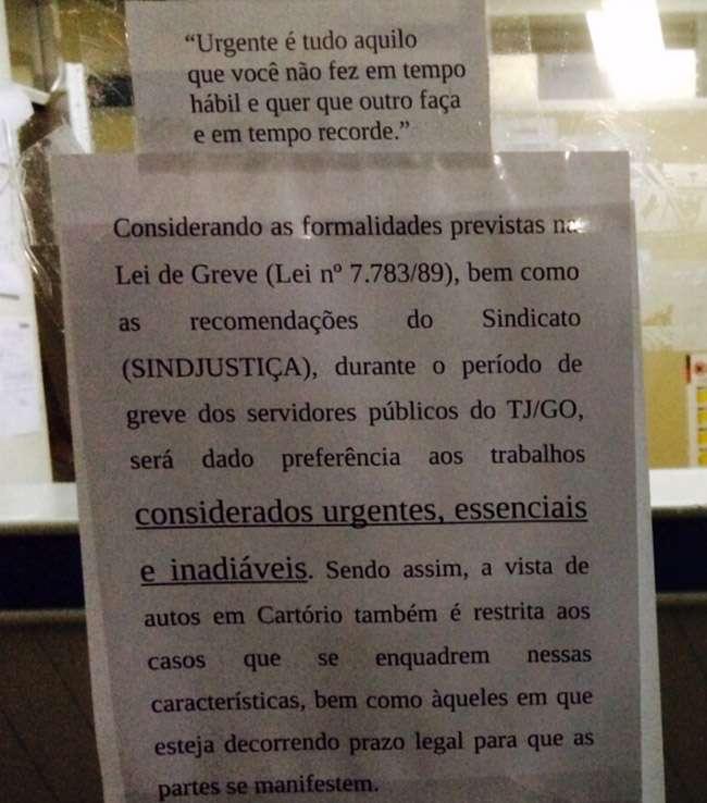 Greve de servidores do judiciário em Goiás deixa varas cíveis fechadas