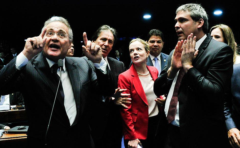 Bate-boca com Gleisi pode levar Renan a votar pelo impeachment, dizem aliados