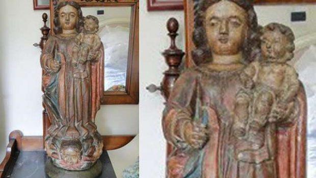 Furtada há 20 anos, imagem de Nossa Senhora do Rosário é recuperada