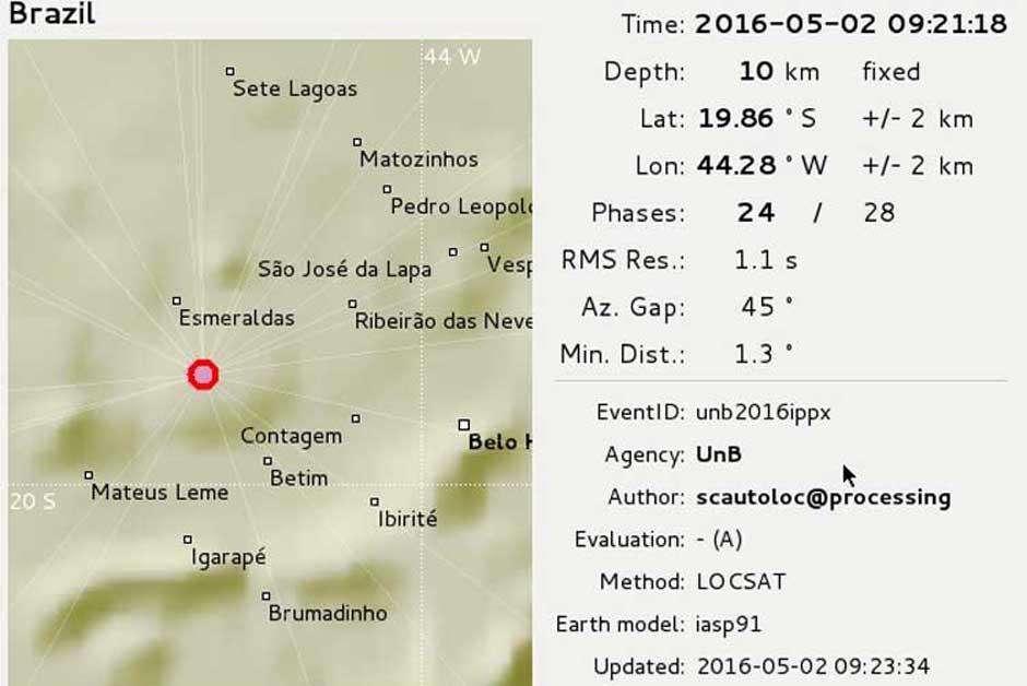 Observatório da UnB registra tremor de terra na região metropolitana de BH