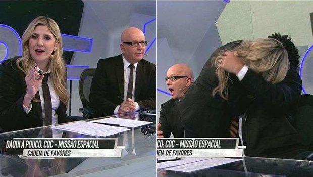 No CQC, Dani Calabresa dá resposta sobre traição de Adnet e beija Luque na boca; assista