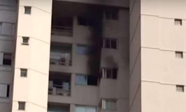 Bombeiros combatem princípio de incêndio em prédio no setor Nova Suíça