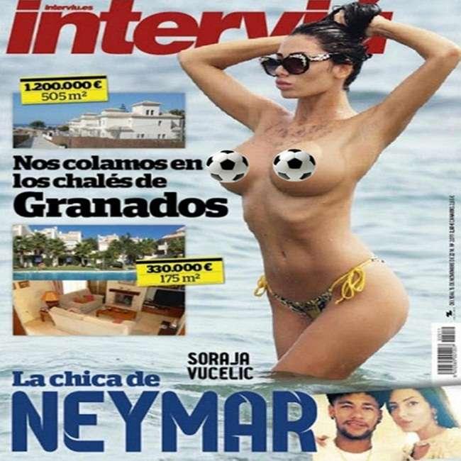 Affair de Neymar é clicada fazendo topless em praia