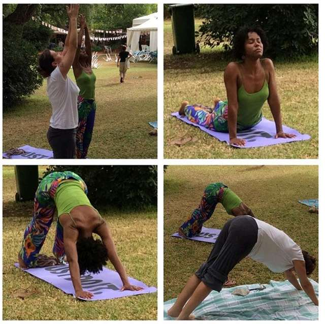 Maju, garota do tempo do 'Jornal Nacional' aproveita as férias para praticar ioga
