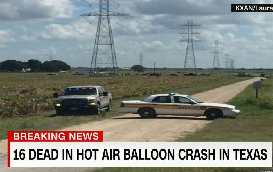 Balão com pelo menos 16 cai no Texas e autoridades creem que todos morreram