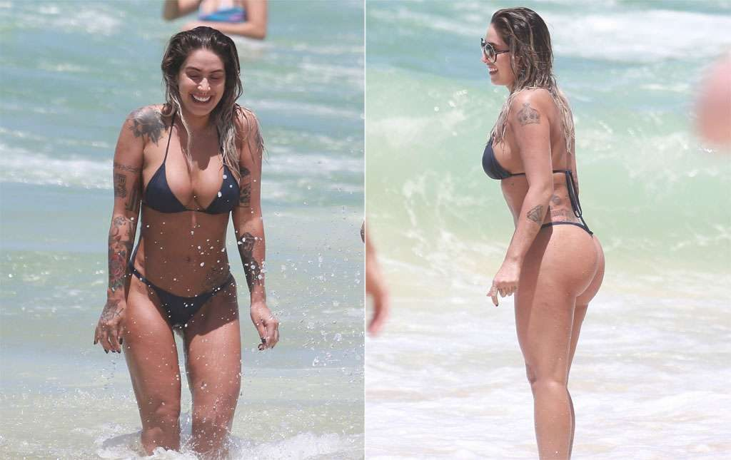 Dani Bolina esbanja boa forma e curte praia no Rio