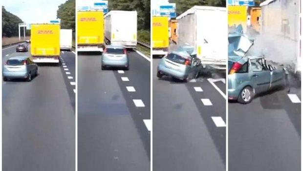 Carro bate de frente em alta velocidade. Assista ao vídeo