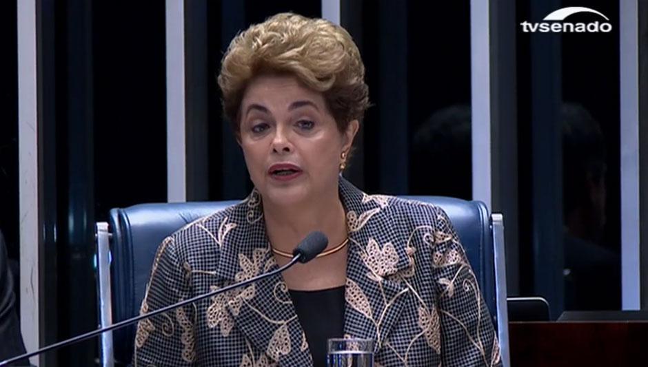 Dilma diz no Senado que será eternamente grata a quem votar para absolvê-la