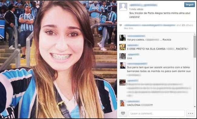 Torcedora do Grêmio que ofendeu goleiro do Santos é atacada na web e afastada de emprego