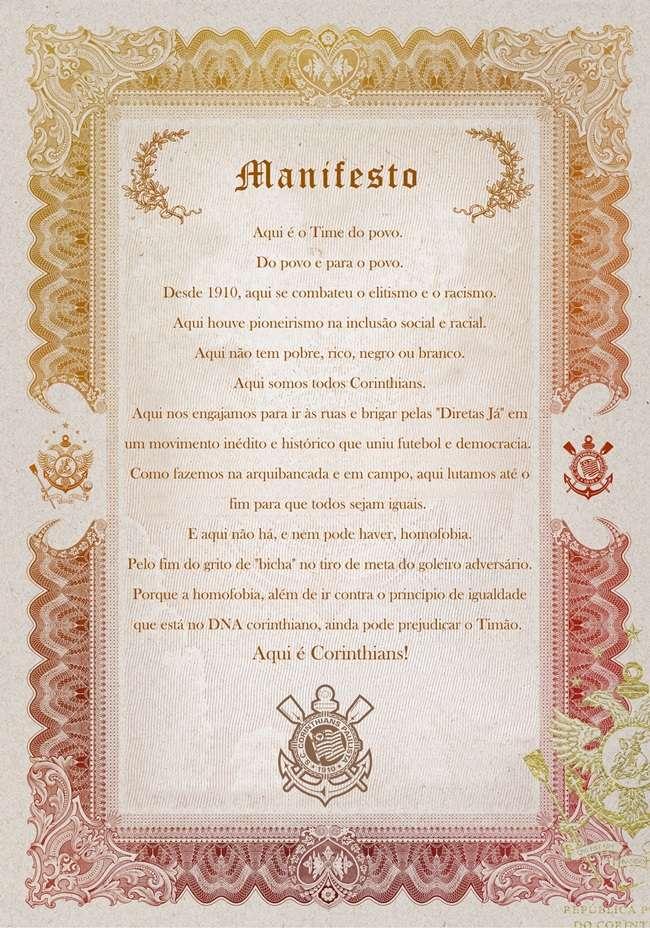 Corinthians lança manifesto contra homofobia no futebol