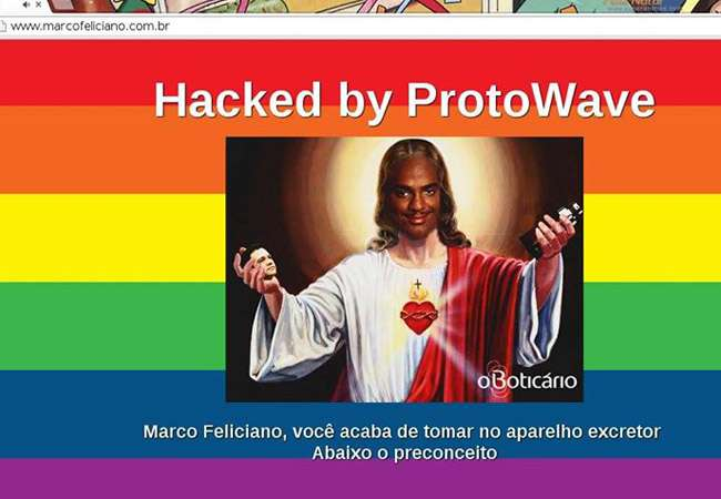 Site do deputado Marco Feliciano é hackeado com símbolos LGBT