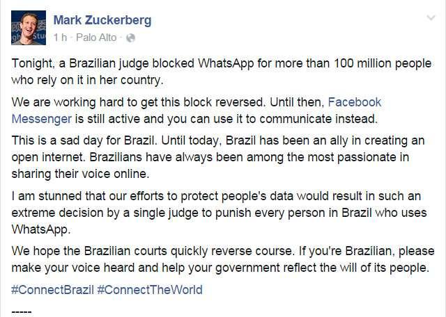 Mark Zuckerberg diz que 'este é um dia triste' para o Brasil