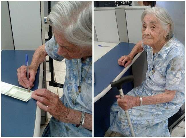 Aos 101 anos, Dona Comari faz recadastramento biométrico