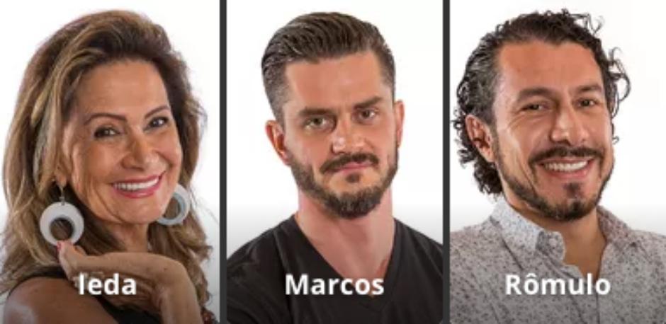 Rômulo, Marcos e Ieda estão no Paredão do BBB 17 nesta semana