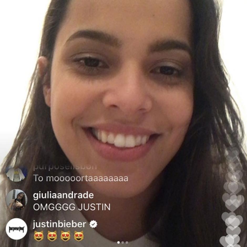 Justin Bieber invade transmissão ao vivo da ex-BBB Mayla com emojis de coração