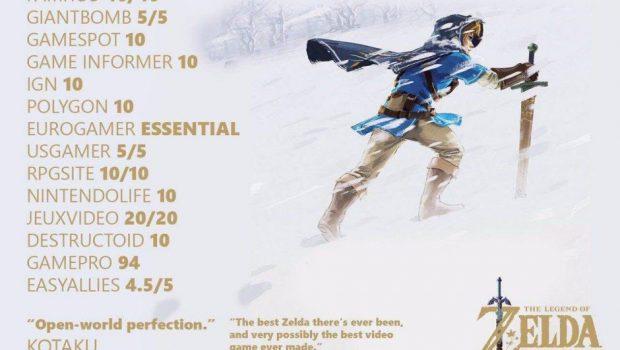 The Legend of Zelda: Breath of the Wild se torna um dos cinco jogos mais bem avaliados da História