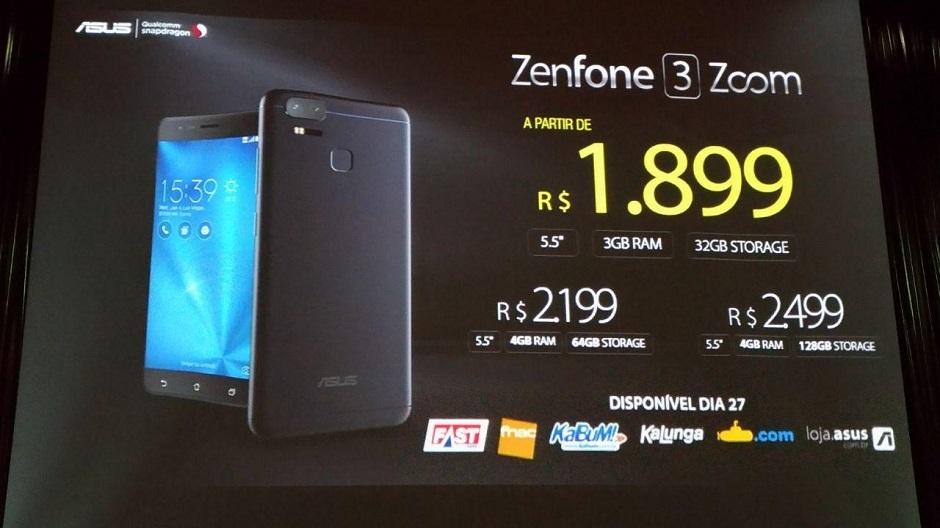 Zenfone 3 Zoom irá custar a partir de R$ 1.899