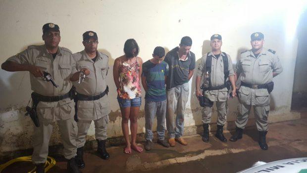 Trio suspeito de praticar roubos na zona rural de Araguapaz é preso pela PM