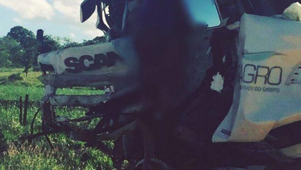 Motorista de carreta morre em acidente na BR-452