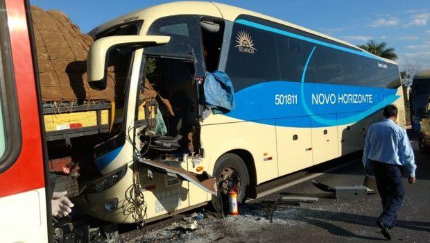 Acidente entre ônibus e caminhão deixa uma pessoa ferida na BR 020