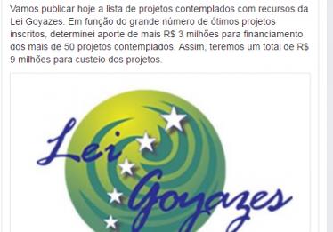 Marconi anuncia aporte de mais R$ 3 milhões para financiar projetos pela Lei Goyazes