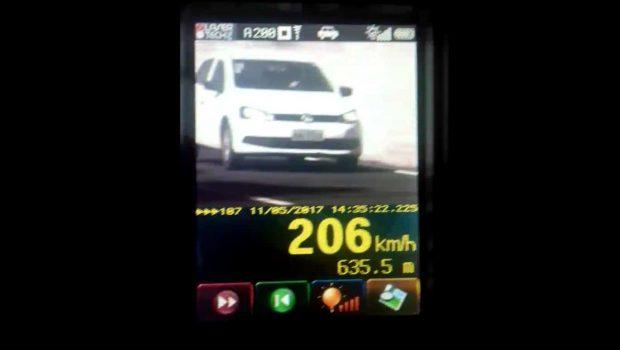 Em pleno maio amarelo, motorista goiano é flagrado a 206 km/h na BR-060