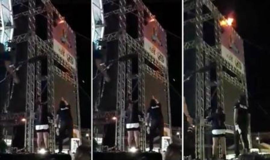 Maiara e Maraísa interrompem show após palco pegar fogo