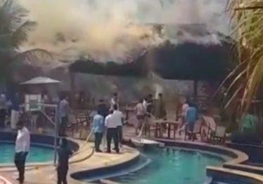 Princípio de incêndio assusta frequentadores de resort em Caldas Novas