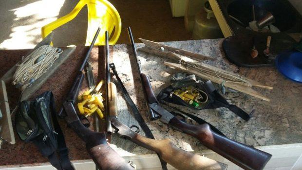 Três homens são presos com armas e carnes de animais silvestres em Jandaia
