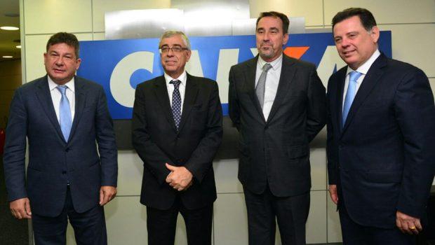 Em Brasília, Marconi e presidente do TJ-GO discutem ampliação de parcerias com presidente da Caixa