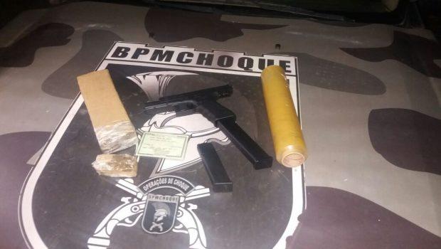 Foragido é preso com documento falso, drogas e arma de fogo, em Goiânia